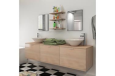 Badrumsmöbler åtta delar med handfat beige