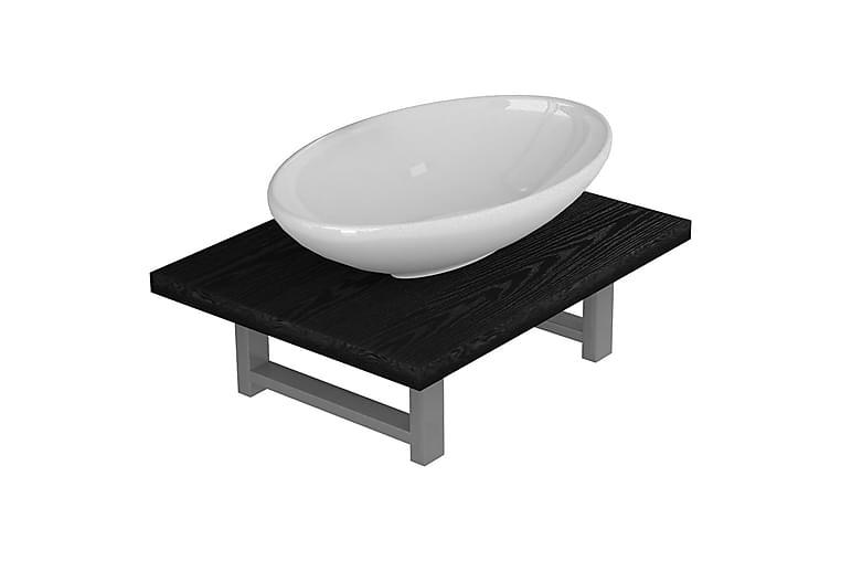 Badrumsmöbler 2 delar keramik svart - Svart - Badrum - Badrumsmöbler - Kompletta möbelpaket