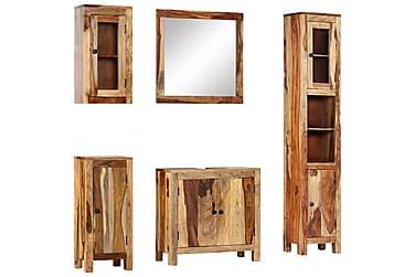 Badrumsmöbler 5 delar massivt sheshamträ