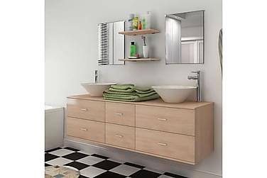 Badrumsmöbler med handfat beige 7 delar