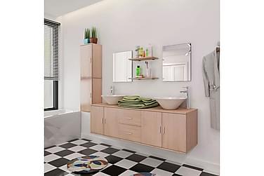 Badrumsmöbler med handfat och kran beige 11 delar