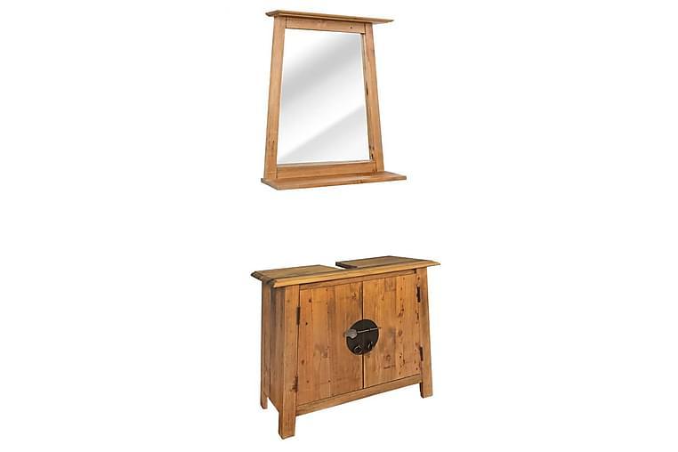 Badrumsmöbler set återvunnen massiv furu - Brun - Badrum - Badrumsmöbler - Kompletta möbelpaket