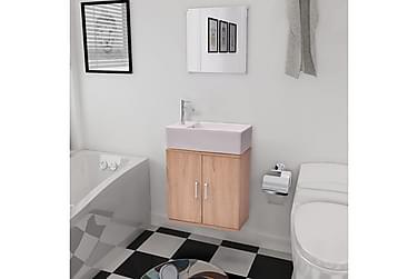 Badrumsmöbler tre delar med fyrkantigt handfat beige