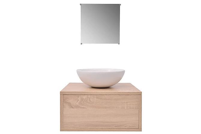 Badrumsmöbler tre delar med handfat beige - Beige - Badrum - Badrumsmöbler - Kompletta möbelpaket