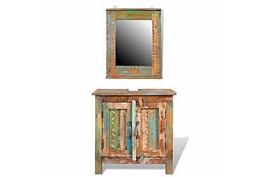 Badrumsset Kommod med spegel Återvunnet trä