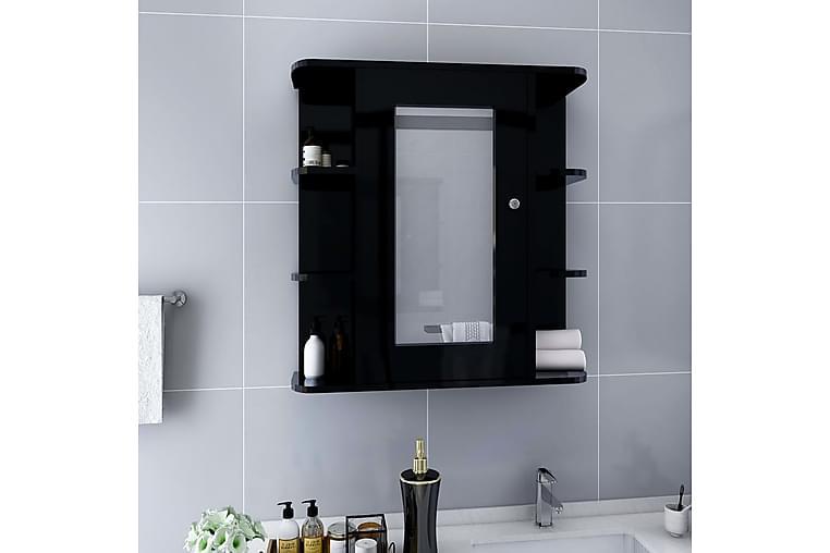 Spegelskåp för badrum svart 66x17x63 cm MDF - Svart - Badrum - Badrumsmöbler - Spegelskåp