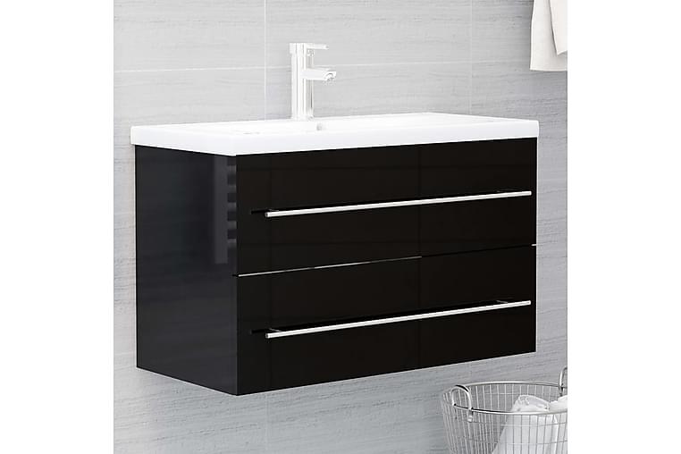 Tvättställsskåp svart högglans 80x38,5x48 cm spånskiva - Svart - Badrum - Badrumsmöbler - Tvättställsskåp & kommod