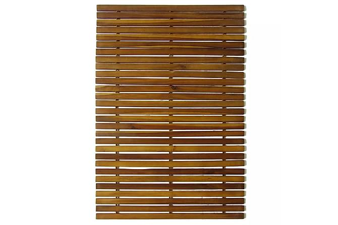 Badrumsmatta i akaciaträ 80 x 50 cm - Brun - Badrum - Badrumstextilier - Badrumsmatta