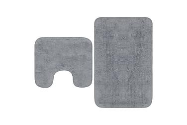 Badrumsmattor 2 st tyg grå