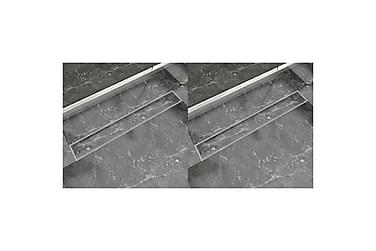Avlång golvbrunn 2 st rostfritt stål 830x140 mm