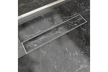 Avlång golvbrunn 630 x 140 mm rostfritt stål