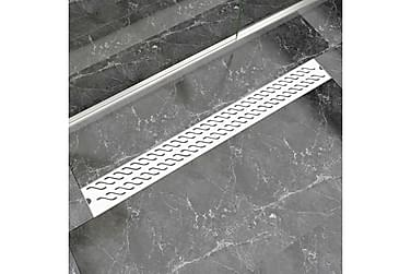 Avlång golvbrunn vågig 1030x140 mm rostfritt stål