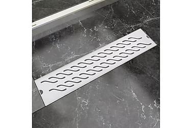 Avlång golvbrunn vågig 530x140 mm rostfritt stål
