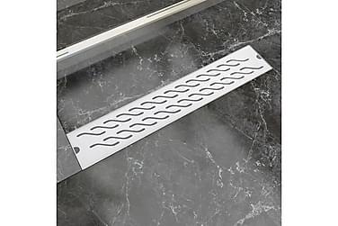 Avlång golvbrunn vågig 630x140 mm rostfritt stål