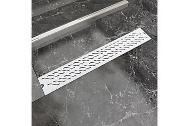Avlång golvbrunn vågig 730x140 mm rostfritt stål