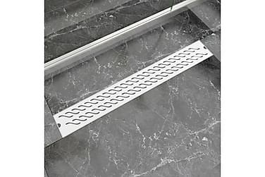 Avlång golvbrunn vågig 830x140 mm rostfritt stål