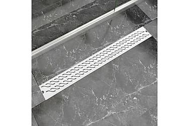 Avlång golvbrunn vågig 930x140 mm rostfritt stål
