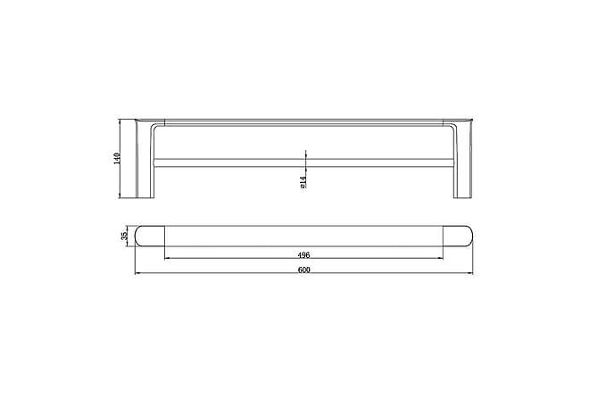Liberty Dubbel handduksstång - 60cm - Badrum - Badrumstillbehör - Handdukshängare & handduksstång