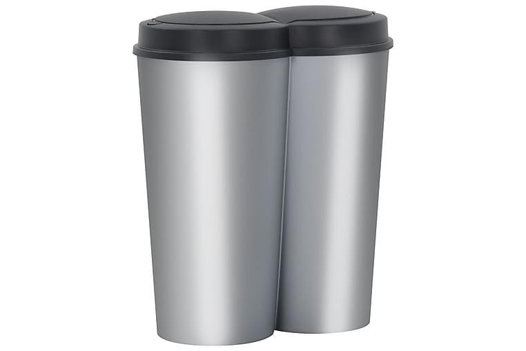 Dubbel sophink silver och svart 50 L - Svart - Badrum - Badrumstillbehör - Pedalhink