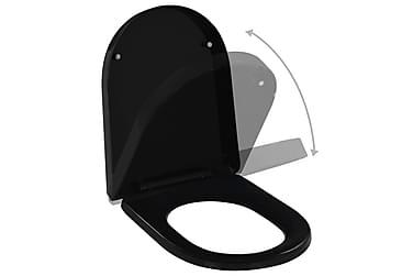 Toalettsits med mjuk stängning och snabbfäste svart