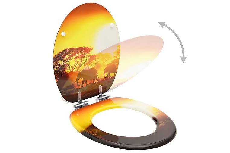 Toalettsitsar med mjuk stängning 2 st MDF savann - Flerfärgad - Badrum - Badrumstillbehör - Toalettsitsar