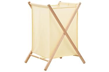 Tvättkorg cedarträ och tyg 42x41x64 cm beige