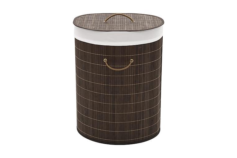 Tvättkorg i bambu oval mörkbrun - Brun - Badrum - Badrumstillbehör - Tvättkorg