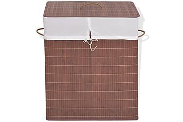 Tvättkorg i bambu rektangulär brun