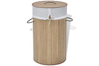 Tvättkorg i bambu rund naturfärg