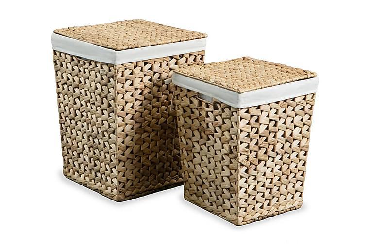 Tvättkorg set 2 st vattenhyacint - Brun - Badrum - Badrumstillbehör - Tvättkorg