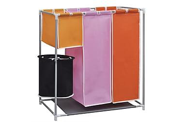 Tvättsorterare i 3 sektioner med en tvättkorg