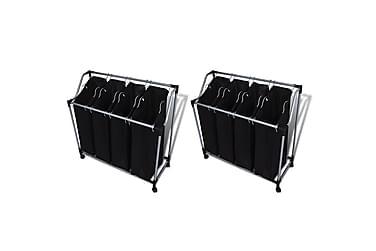 Tvättsorterare m. påsar 2 st svart & grå