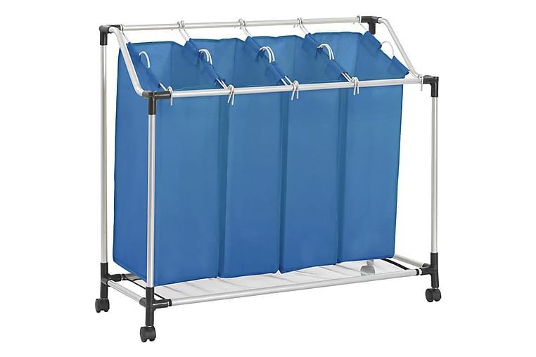 Tvättsorterare med 4 påsar blå stål - Blå - Badrum - Badrumstillbehör - Tvättkorg