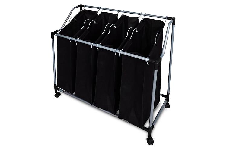Tvättsorterare med 4 påsar svart grå