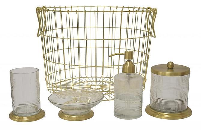 Gero Glasflaksa med Pump - Blå/Mässing/Glas - Badrum - Badrumstillbehör - Tvålpump & tvålkopp