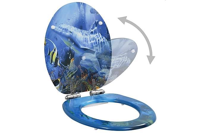 Toalettsits med mjuk stängning MDF delfiner - Badrum - Badrumstillbehör