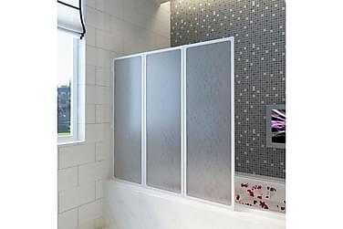 Duschvägg vikbar Vit 3-paneler 141x132 cm