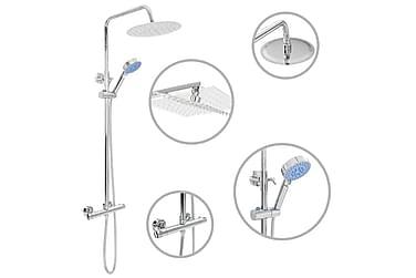 Dusch med handdusch och termostat rostfritt stål