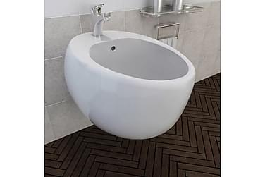 Bidé vit keramik, vägghängd