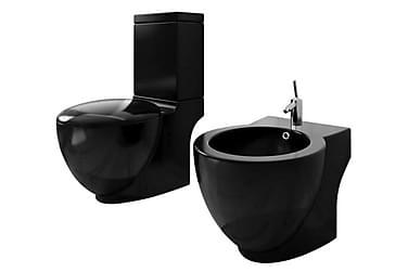 Toalettstol och bidé svart keramik inkl. cistern