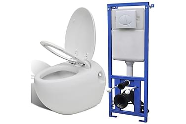 Vägghängd äggformad toalett med dold cistern vit
