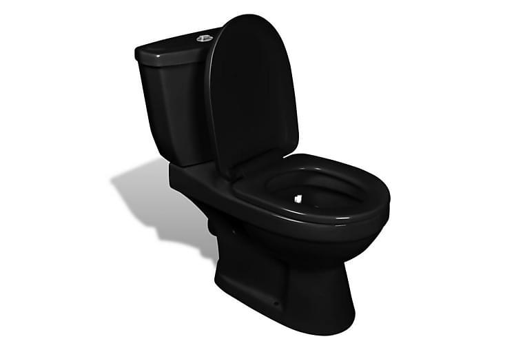 Toalettstol med cistern svart