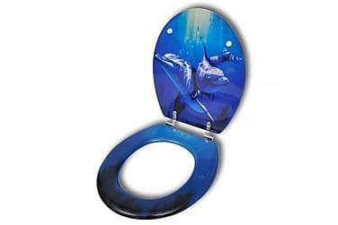 Toalettsits med delfiner MDF hård stängning