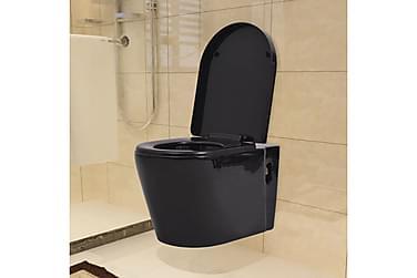 Toalettstol vägghängd keramisk svart