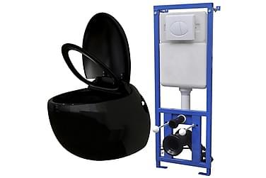 Vägghängd äggformad toalett med dold cistern svart