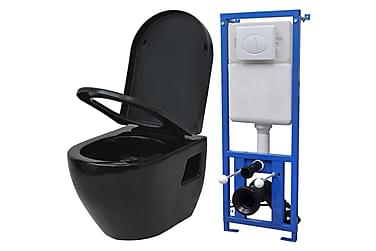 Vägghängd toalett med cistern svart