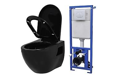 Vägghängd toalett m. dold cistern keramik svart