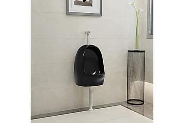 Vägghängd urinoar med spolventil keramisk svart