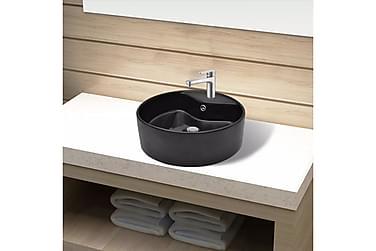 Handfat svart i keramik m. kranhål & översvämningshål rund