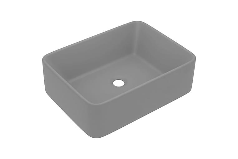 Lyxigt handfat matt ljusgrå 41x30x12 cm keramik - Ljusgrå - Badrum - Tvättställ & handfat - Enkelhandfat